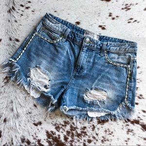Free People eyelet pocket floral trim shorts